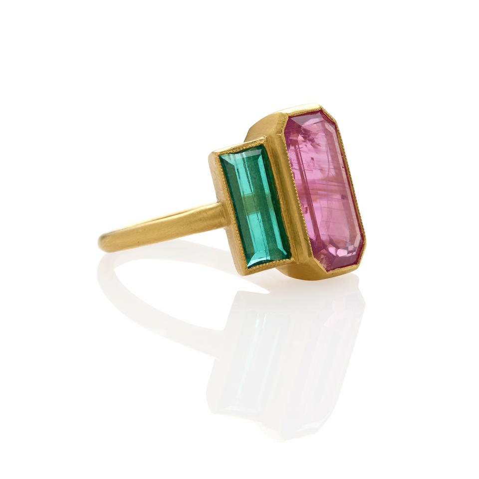 Gold, Pink Sapphire and Emerald Ring