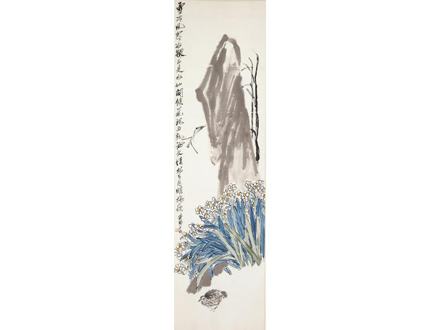 Qi Baishi (1862-1957)  Narcissus, Rock and Quail