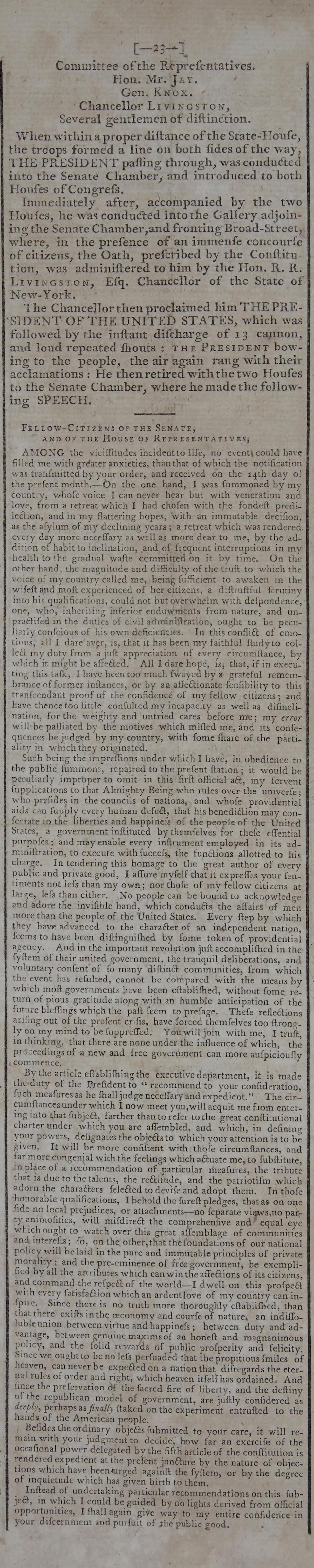 WASHINGTON'S FIRST INAUGURAL ADDRESS. Gazette of the United States, No. 6. New York: John Fenno, May 2, 1789.