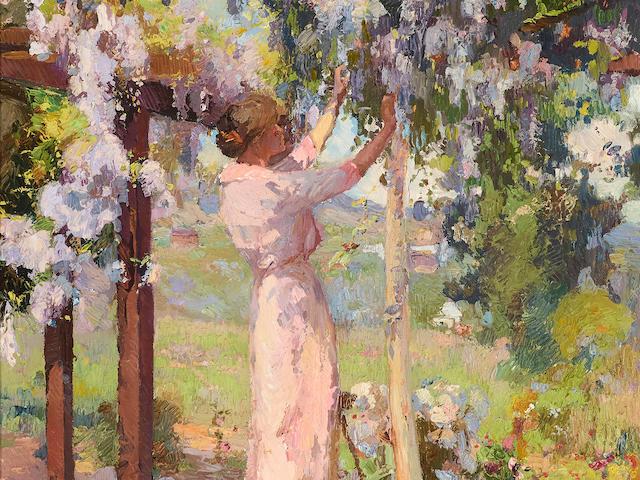 Franz Arthur Bischoff (1864-1929) Trimming the Wisteria (in Bischoff's backyard) 30 x 21in framed 40 x 32in