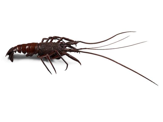 Moriyoshi (active circa 1900)  A copper jizai okimono of a crayfishMeiji era (1868-1912), circa 1900