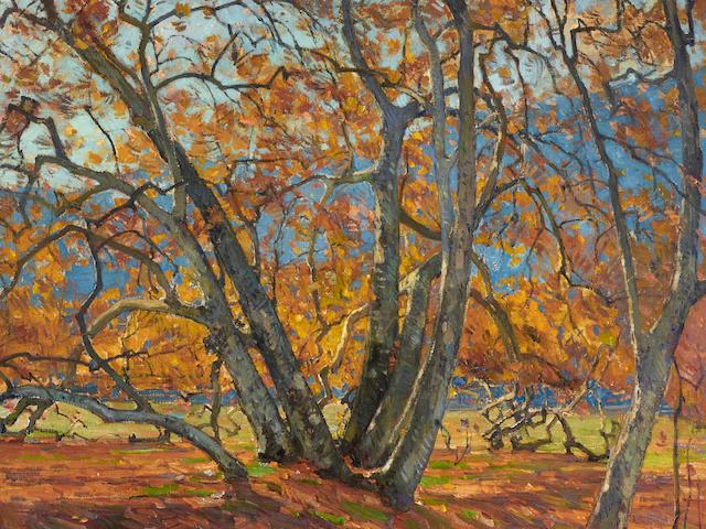 William Wendt (1865-1946) Flickering Sunlight 32 1/4 x 36in framed 41 1/2 x 45 1/2in (Painted in 1921.)