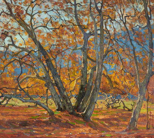 William Wendt (1865-1946) Flickering Sunlight 32 1/4 x 36in framed 41 1/2 x 45 1/2in (Painted in 1921.)
