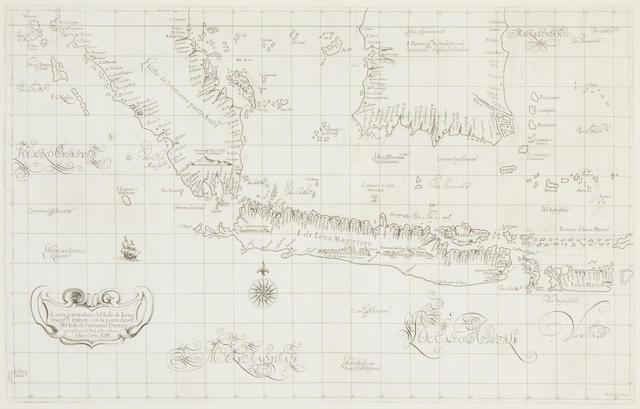 DUDLEY, ROBERT, SIR. c.1573-1649. Carta particolare del Isole di la Java maggiele minore con la parte Austrle del Isole di Sumatrae Burneo.... Florence: 1646 or later.