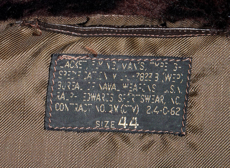 J.F.K.'S AIR FORCE ONE BOMBER JACKET GIVEN TO DAVID POWERS. An original U.S. Government issue G-1 flight jacket, with sewn patch of the Seal of the President of the United States over the right breast, originally owned by President John F. Kennedy and gifted to David Powers circa 1962-1963,