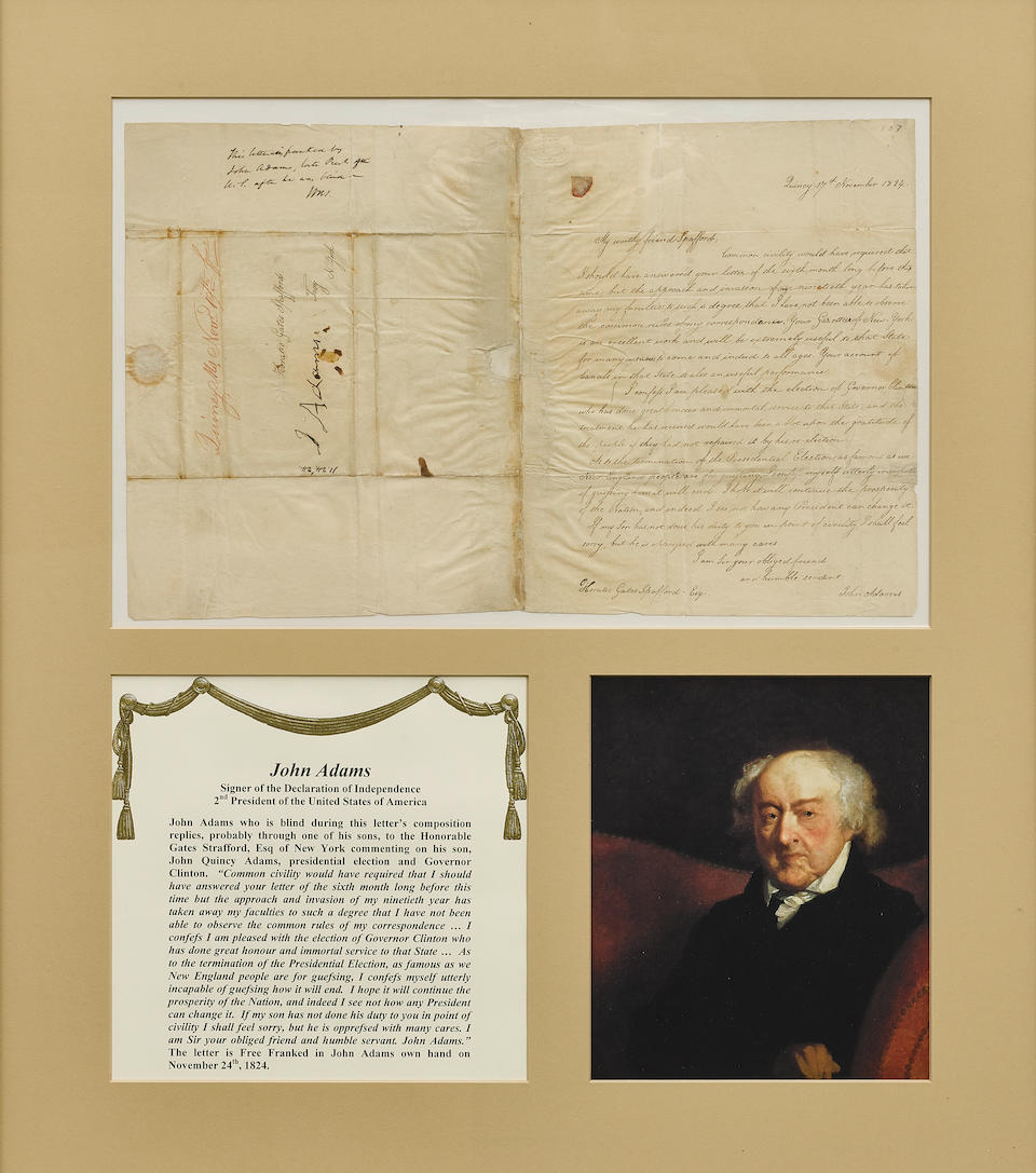 """JOHN ADAMS TO HORATIO GATES SPAFFORD ON HIS SON'S ELECTION TO THE PRESIDENCY. ADAMS, JOHN. 1735-1826. Letter Signed Secretarially (""""John Adams""""), on his son's prospects in the Presidential election,"""