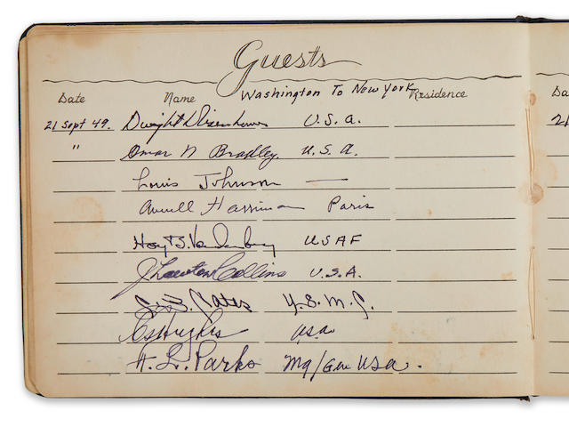 TRUMAN'S PRESIDENTIAL PLANE GUESTBOOK. Guest book from the Truman Presidential airplane SAM-8608 from pilot Chester Moomaw,