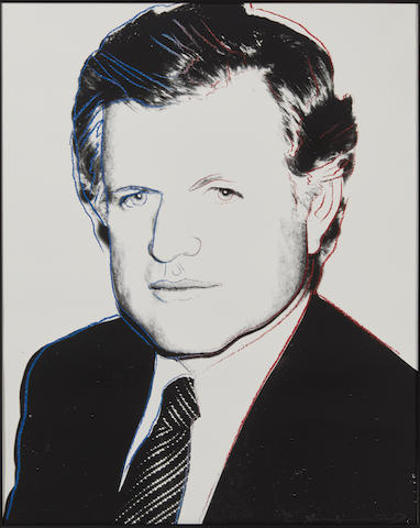 A WARHOL SIGNED DIAMOND DUST PORTRAIT OF EDWARD KENNEDY. ANDY WARHOL, 1928-1987. Edward Kennedy. published by the Kennedy for President Committee, Washington, D.C.,  1980