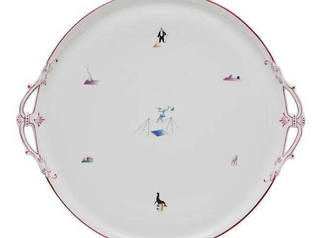 Gio Ponti (1891-1979) Il Circo Platter1934for Richard Ginori, glazed hard paste porcelain, glaze mark 'Richard Ginori Pittoria di Docchia Made in Italy 34-5'diameter 18in (46cm)