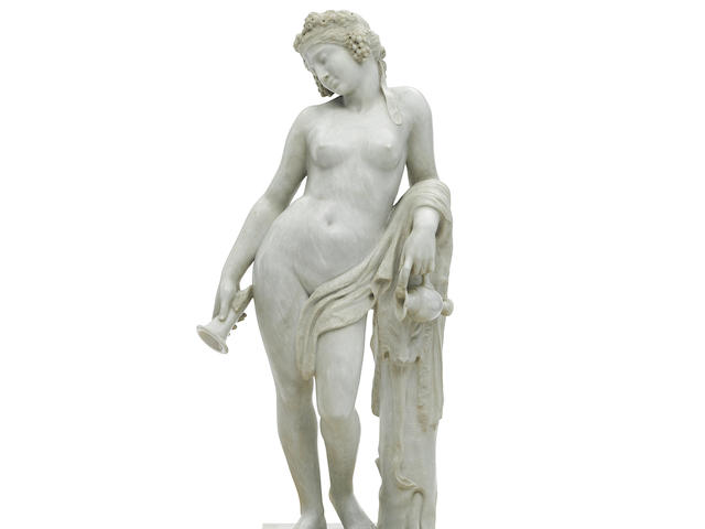 A LIFESIZE ITALIAN CARVED CARRARA MARBLE SCULPTURE OF A BACCHANTE Antonio Frilli (died 1902), late 19th century