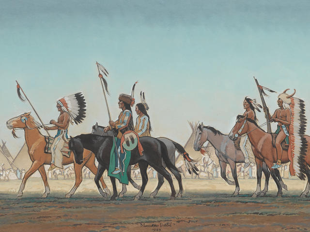 Maynard Dixon (1875-1946) Parade of Warriors 13 1/4 x 23 3/4in  framed 30 x 40in (Painted in 1943.)