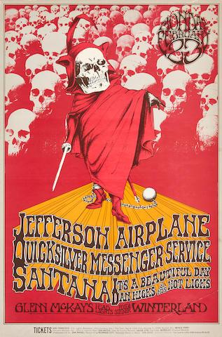 A Jefferson Airplane/Quicksilver Messenger Service benefit show poster BG-222 for the Grateful Dead 1970