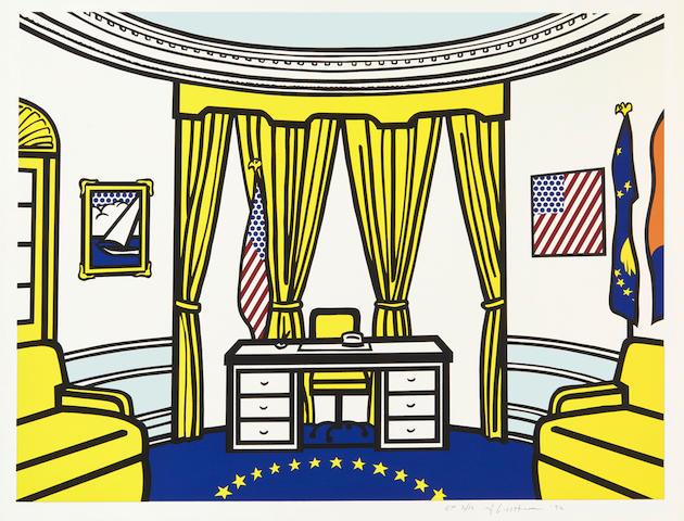 ROY LICHTENSTEIN'S THE OVAL OFFICE. Roy Lichtenstein. 1923-1997. The Oval Office.  New York: Published by the Artist, and Ronald Feldman Fine Arts, 1992.