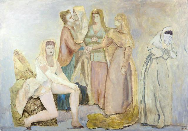LEONOR FINI (1907-1996) Les Tragédiennes / Le Départ / Les Adieux / Reunion de femmes 63 3/4 x 44 7/8 in (Painted circa 1930-1931)