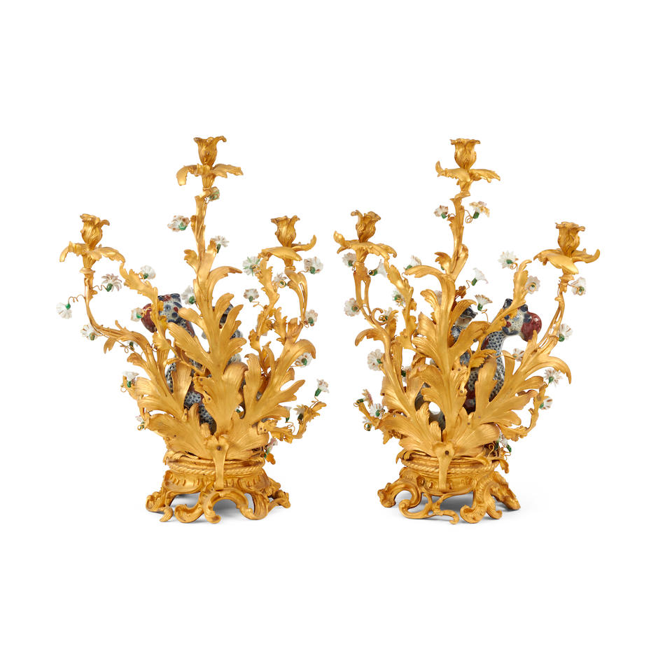 A Pair of Louis XV Style Gilt Bronze Mounted Chinese Porcelain Three-Light Candelabra
