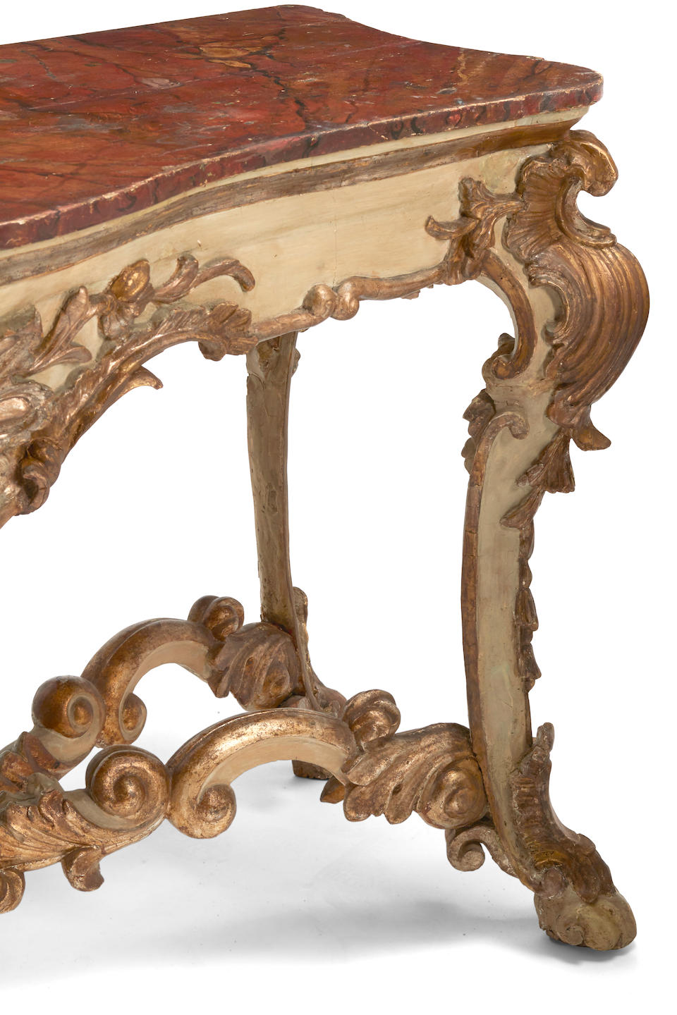 A pair of Italian baroque gilt and painted wood consoles  18th century