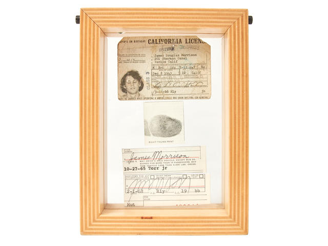 A Jim Morrison Signed California driver's license with related signatures and a thumb print 1965-1968