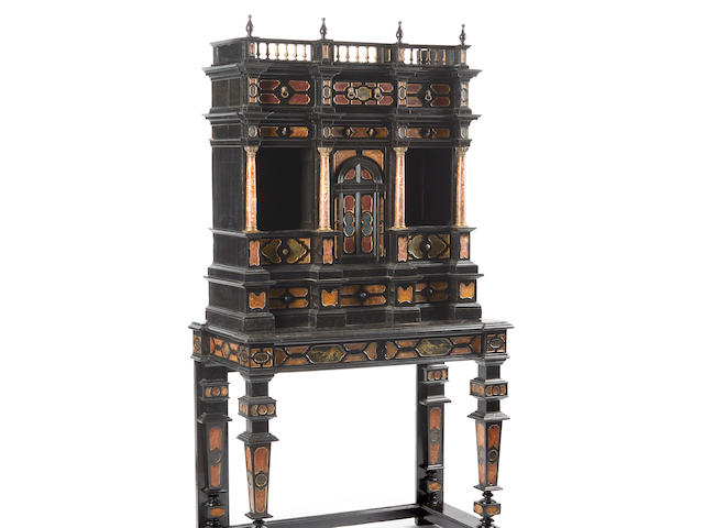 An Italian Marble Mounted and Ebonized Cabinet on Stand 17th century and later
