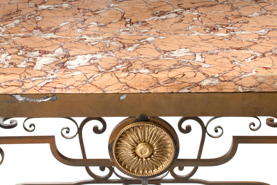 A French Marble Top Iron Table
