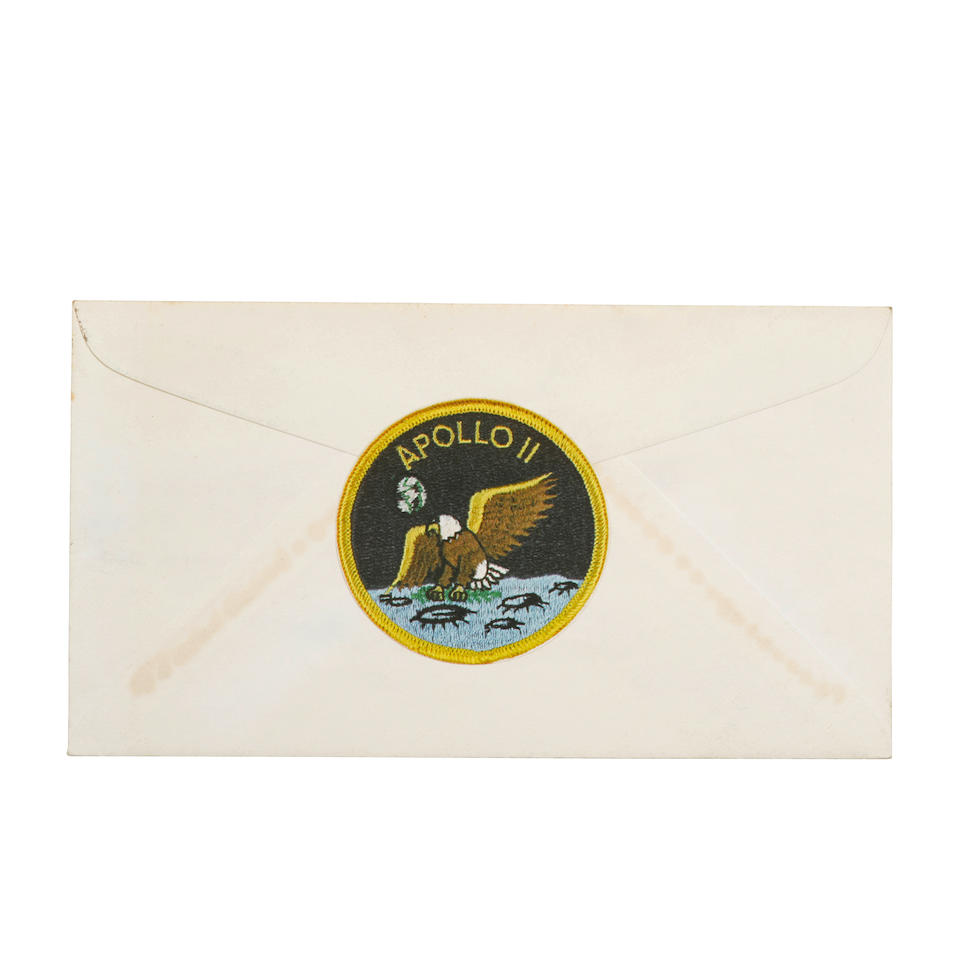APOLLO 11 CREW SIGNED PROJECT MERCURY FIRST DAY COVER APOLLO 11 CREW CELEBRATES PROJECT MERCURY Project Mercury First Day Cover, 4 x 6 inches, bearing the cancelled 4 cent Project Mercury Stamp, cancelled at Cape Canaveral, February 20, 1962,