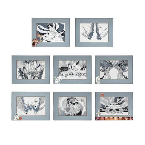 "A suite of Dennis Numkena drawings, ""Mozart's Magic Flute,"" 1982"