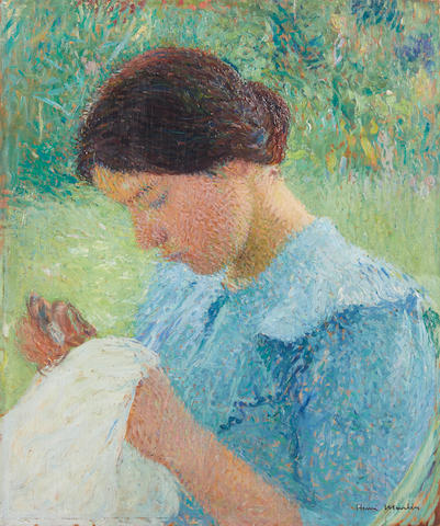 HENRI-JEAN GUILLAUME MARTIN (1860-1943) Georgette, cousant 21 1/2 x 18 in (54.6 x 45.6 cm)