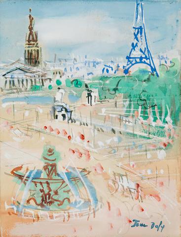 JEAN DUFY (1888-1964) Place de la Concorde 10 x 8 in (26 x 20.5 cm) (Executed circa 1960)