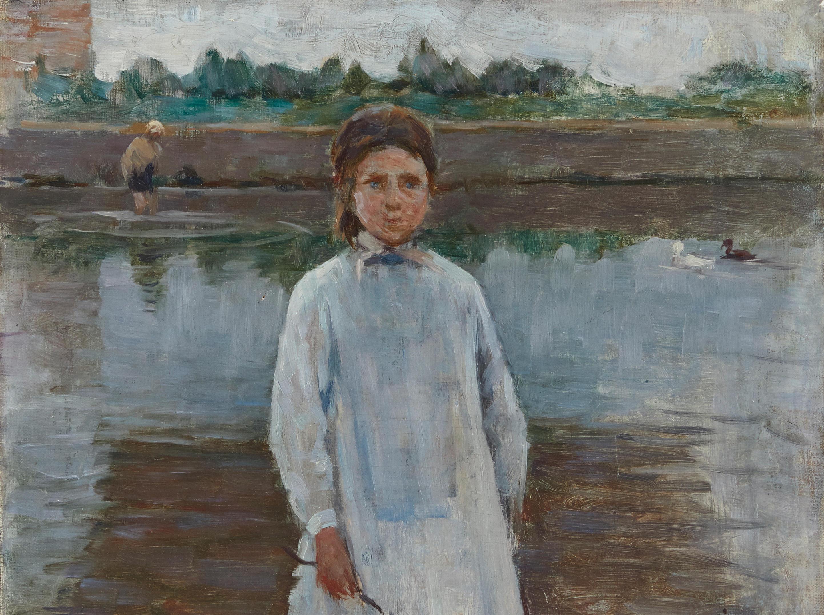HENRI LE SIDANER (1862-1939) Fillette à l'abreuvoir 18 x 12 7/8 in (45.7 x 32.7 cm) (Painted in Saint-Valéry-sur-Somme in Spring 1890)