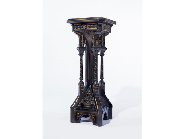 A. Kimbel & J. Cabus (Founded 1862) Gothic Revival pedestal circa 1875ebonized wood, carved and gilt decoratedheight 42in (107cm); width 17in (43cm); depth 16 ¾in (42.5cm)