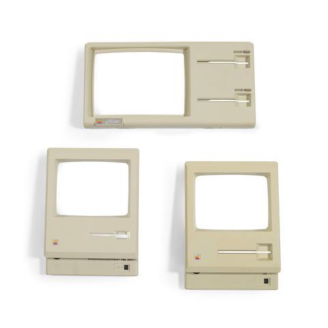 APPLE MACINTOSH EVOLUTION Group of 3 original molded plastic faceplates, Apple Inc, 1983-1984: