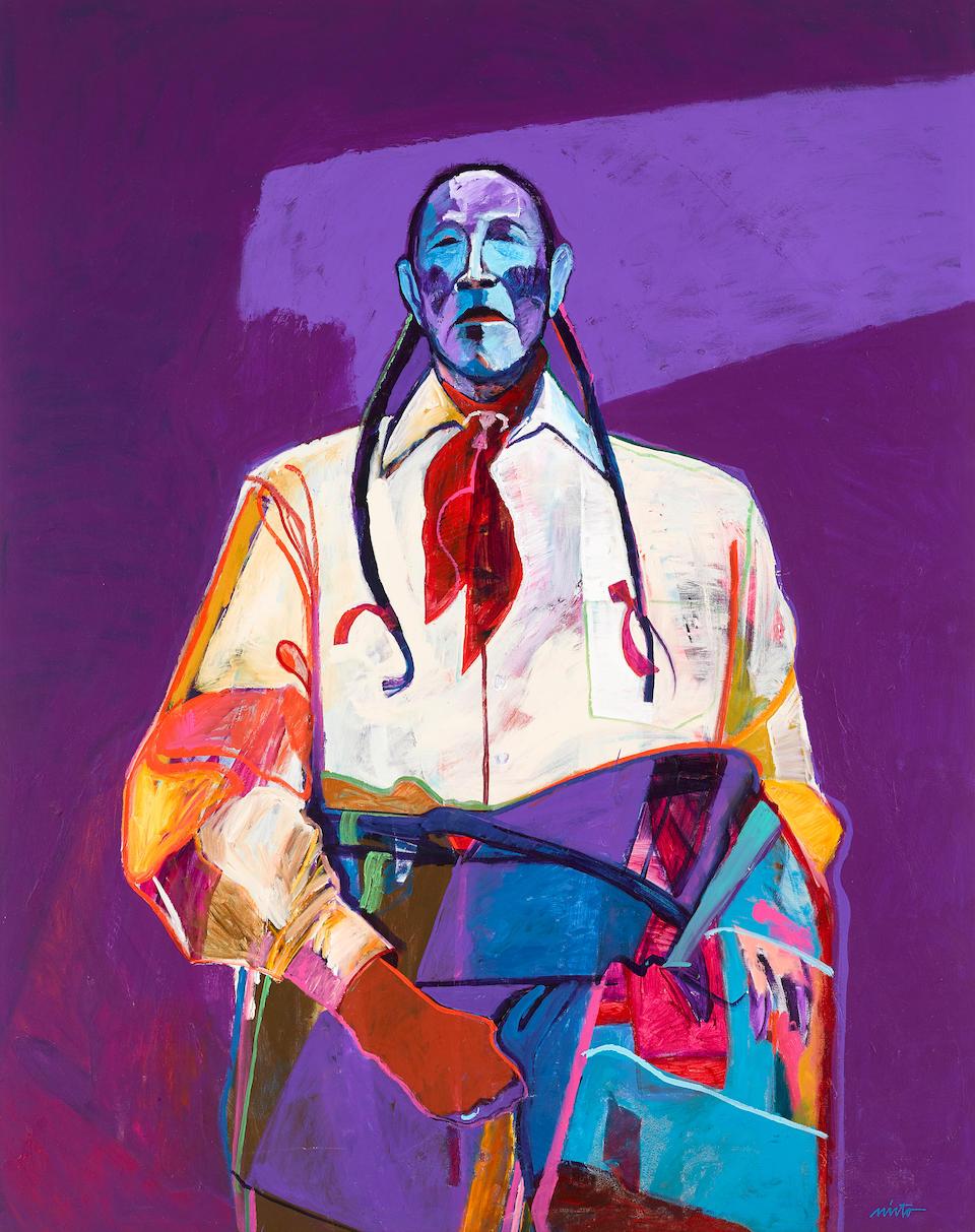 "A John Nieto painting, ""Taos Pueblo Elder,"" 1991"
