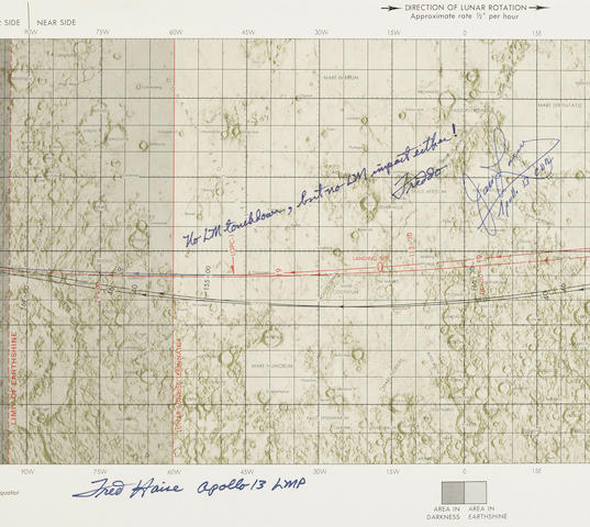APOLLO 13 LUNAR CHART WITH NO LUNAR IMPACT, SIGNED.
