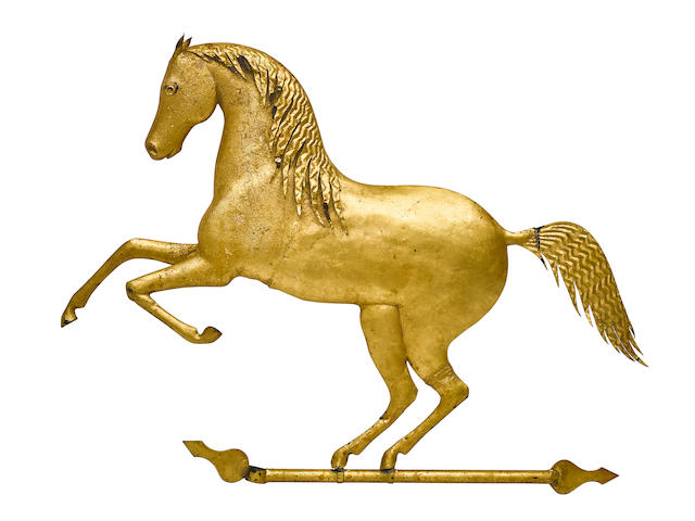 A MOLDED GILT COPPER AND ZINC REARING HORSE WEATHERVANEAttributed to J. Howard & Co., West Bridgewater, MA, mid-19th century