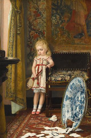 Jan Frans Verhas (Belgian, 1834-1896) Minor catastrophe 33 1/2 x 22 3/4in (85.1 x 57.8cm)