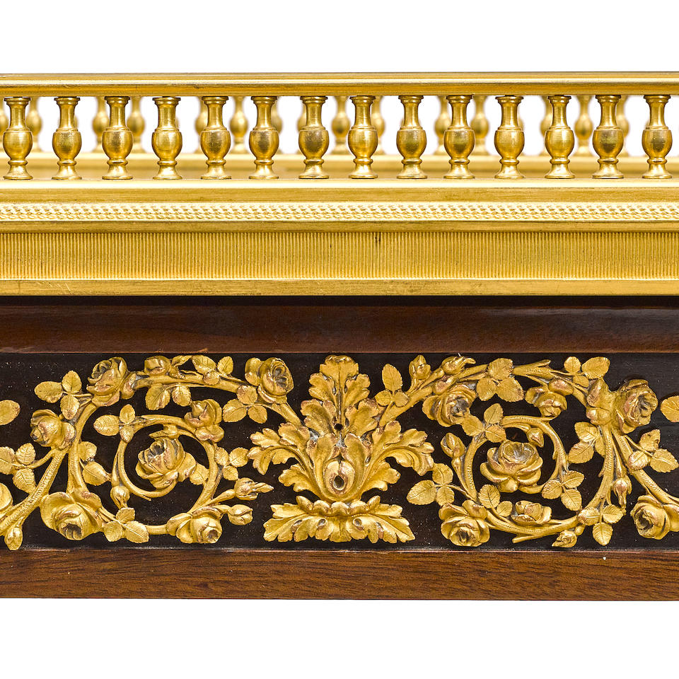 A LOUIS XVI STYLE GILT BRONZE MOUNTED MAHOGANY SIDE TABLEHenry Dasson, 1892