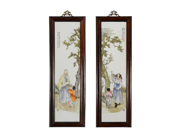 A pair of figural porcelain plaques depicting Li Bai and Tao Yuanming Republic period (2)