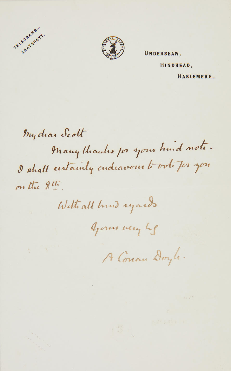 "CONAN DOYLE, ARTHUR. 1859-1930. Autograph Note Signed (""A. Conan Doyle"") to Robert Falcon Scott (""Dear Scott"") regarding his membership to the Sheringham Golf Club,"
