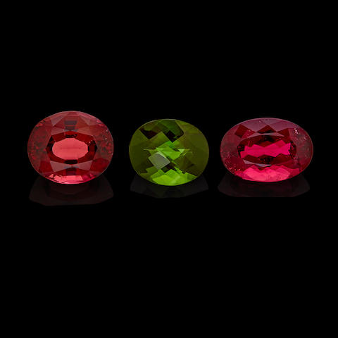 Two Rubellite Tourmalines and a Green Tourmaline