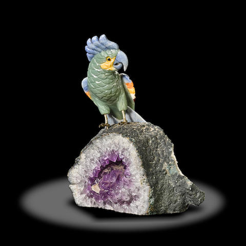 Multi-Gemstone Carving of a Cockatoo on Amethyst Geode Base