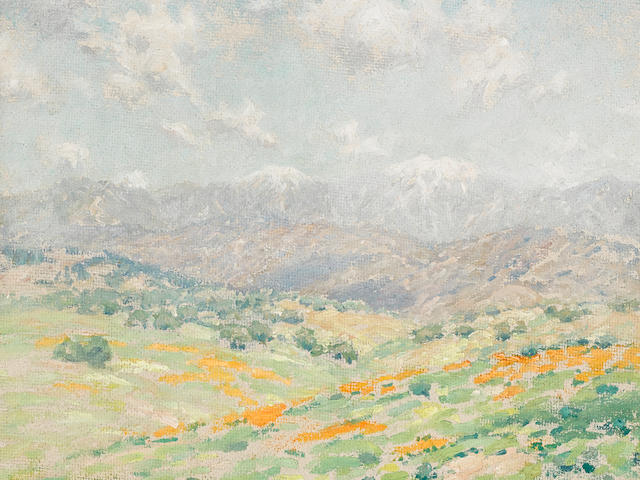Granville Redmond (1871-1935) A Field of Poppies with Snowcapped Mountains in the Distance 11 x 14in  (framed 18 x 21in)