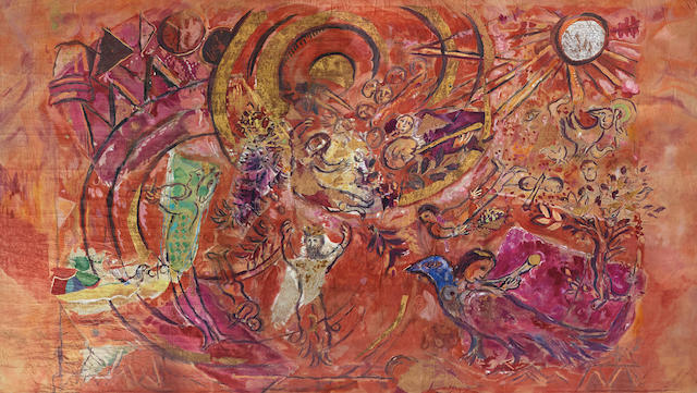 MARC CHAGALL (1887-1985) Stage curtain for Mozart's 'The Magic Flute' (Finale) 258 x 816 in (655.3 x 2072 cm) (Designed, created and painted by Marc Chagall in 1966-67; Executed and painted by Volodia Odinokov in 1967)