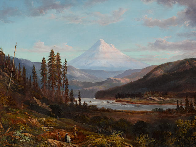 William Keith (1838-1911) Mount Hood from Sandy River 24 x 36in framed 31 x 43in (Painted in 1869.)