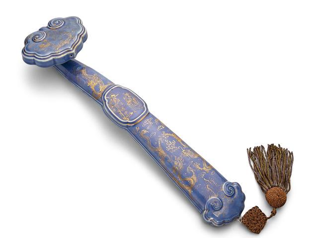 A gilt enameled cobalt blue porcelain Ruyi scepter 19th century