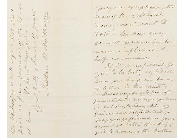 "A GROUP OF SUSAN B. ANTHONY LETTERS TO CLARA BARTON. ANTHONY, SUSAN B. 1820-1906. 4 Autograph Letters Signed (""Susan B. Anthony""), to Clara Barton, as follows:"
