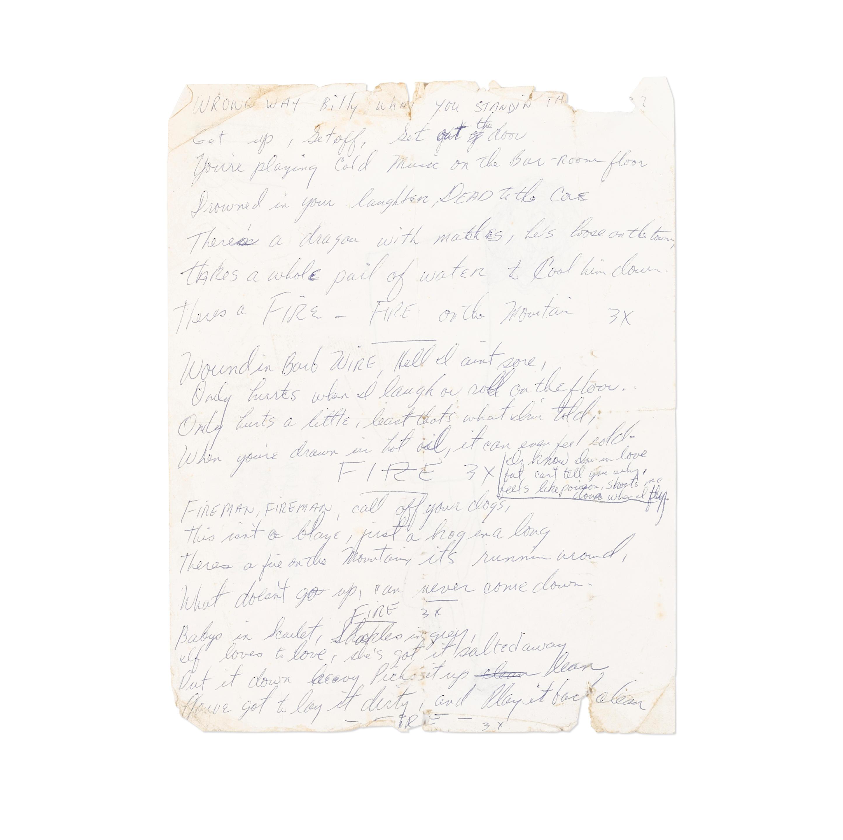 """GRATEFUL DEAD """"FIRE ON THE MOUNTAIN"""" HANDWRITTEN LYRICS c.1972"""