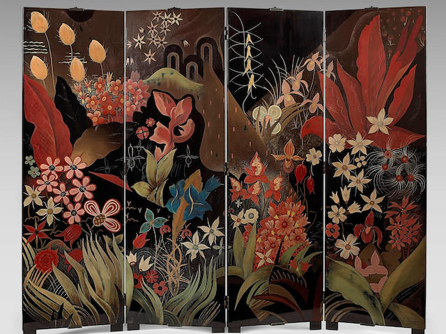 JEAN DUNAND (1877-1942)& FRANCOIS-LOUIS SCHMIED (1873-1941) La Forêt circa 1929after a design by Francois-Louis Schmied, lacquered wood, four-fold paneled screen, signed 'Jean Dunand Lacqueur' and marked 'F.-L. Schmied'height 69in (175cm); total width 86 1/2in (220cm); width of each panel 21 1/2in (55cm)