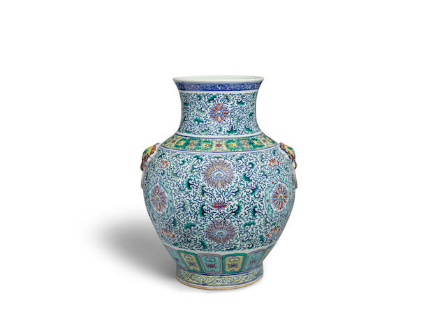 A massive doucai enameled porcelain vase  Qianlong mark, Republic period