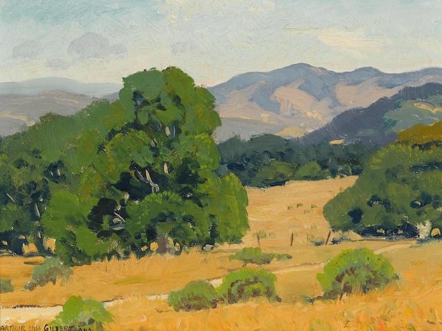Arthur Hill Gilbert (1894-1970) Landscape with California Live Oak 9 x 12in framed 14 3/4 x 17 3/4in