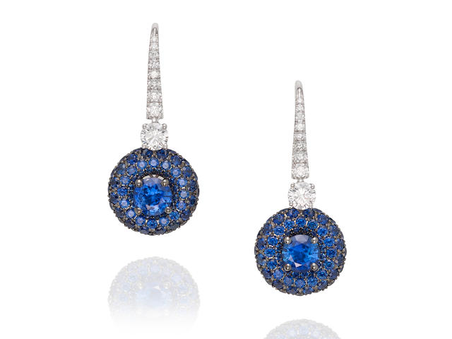 GRAFF: PAIR OF WHITE GOLD, SAPPHIRE AND DIAMOND EARRINGS