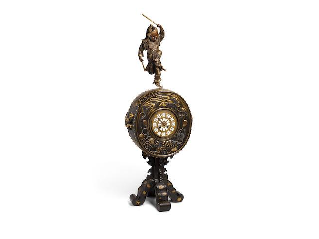 An impressive bronze and mixed-metal clock Meiji era (1868-1912), late 19th century